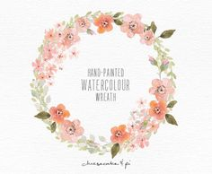 Watercolor wreath: 1 PNG floral clip art / Wedding invitation clip art / commercial use / Peach blossom / CM0063d by CheesecakeandPi on Etsy https://www.etsy.com/listing/217938547/watercolor-wreath-1-png-floral-clip-art