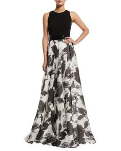 TBLFE Carmen Marc Valvo Sleeveless Floral Jacquard Ball Gown