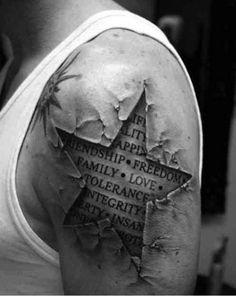 3D Tattoo Stern mit Effekten und Schriftzug, Text und Spruch in schwarz-weiß
