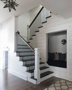 Here are the Staircase Design Ideas For Home. This post about Staircase Design Ideas For Home was posted under the … Home Stairs Design, Interior Stairs, House Design, Stair Design, Black And White Stairs, White Staircase, Staircase With Landing, Black Wood, Farmhouse Stairs
