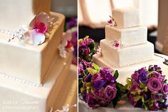 gorgeous square cake with fondant orchids