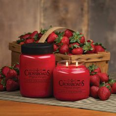 """Crossroads Original Design """"Juicy Strawberry"""" 16 ounce Scented Jar Candle ~ Fragrance is fresh picked juicy strawberries. Light up your home with a high quality, clean burning candle, lead free wick. Made in the USA."""