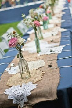 Rustic country wedding superb and stylish wedding decoration. Note advice 1609772588 , diy rustic country wedding shabby chic put together on 20190422 Lace Wedding Centerpieces, Silk Flower Centerpieces, Bridal Shower Decorations, Diy Wedding Decorations, Wedding Table, Wedding Flowers, Wedding Reception, Decoration Originale, Burlap Lace
