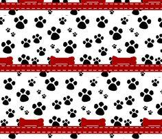 Paw Prints - black red bones fabric by drapestudio on Spoonflower - custom fabric
