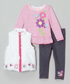 Pink & White Floral Puffer Vest Set - Infant