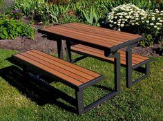 Lifetime Products Wood Grain Folding Convertible Bench-To-Table Picnic Table - It's a table . no, wait, it's two benches. Get the best of both worlds with the Lifetime Products Wood Grain Convertible Folding Benc. Welded Furniture, Iron Furniture, Steel Furniture, Industrial Furniture, Furniture Ideas, Metal Picnic Tables, Folding Picnic Table, Folding Tables, Lifetime Tables