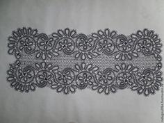 Купить Дорожка кружевная, плетеная на коклюшках в стиле вологодского кружева - тёмно-синий, салфетка кружевная
