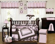 Pink and Brown Hotel Baby Collection 9 Piece Crib Bedding Set