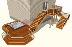 Handrail Shapes For Deck Stairs Free Deck Plans, Pool Deck Plans, Deck Design, Plan Design, Deck Foundation, Deck Footings, High Deck, Vinyl Deck, Stone Deck