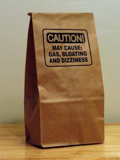 Order 5 - Caution!  May Cause: Gas, Bloating and Dizziness-Humorous Lunch Bags (paper bags,food storage,lunch container,kitchen storage,gag gift)  $3.49 + S&H $2.30 USD