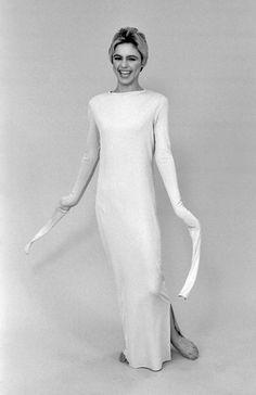 Andy Warhol 1960s Pop Art Film Superstar Edie Sedgwick wearing a Rudi Gernreich…
