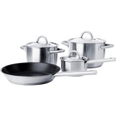 IKEA 365+ 7-piece cookware set, stainless steel (€44) found on Polyvore featuring home, kitchen & dining, cookware, kitchen, house, stainless steel frying pan, non-stick fry pan, pfoa free nonstick cookware, dishwasher safe cookware and nonstick cookware
