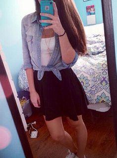 skater skirt and chambray #whatyawearinwednesday