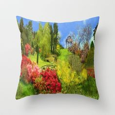Spring Painting Oil Throw Pillow by Elena Indolfi - $20.00