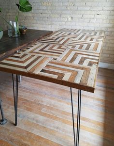 Reclaimed Wood Table Top Unique Chevron Pattern Crafts - Recycled wood table top