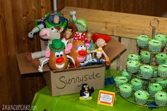 Toy Story Party Dessert Table:  DIY Sunnyside Toy Box | JavaCupcake.com