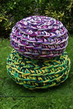 2 T-shirt Yarn Footstools/floor cushions by vickystc, via Flickr