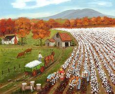 Landscape Picking Cotton Folk Art Print by Arie Reinhardt Taylor of An Original Painting Cotton Field Baker's Mountain North Carolina Autumn by jagartist on Etsy