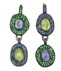 Yossi Harari, blue sapphire and tsavorite drop earrings
