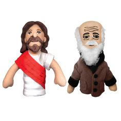 Jesus? Darwin? So much in common. Think of all the fun conversations you three are going to have.    When a few 21st-century philosophers realized the jobs they wanted hadn't existed for 200 years, they abandoned the Ivory Tower and took to the streets—peddling finger puppets and dolls. From The Unemployed Philosophers Guild, here's a selection of unlikely-paired philosopher puppets and Little Thinker dolls.