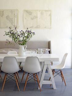 Calming Colors in Dining Room   Eames Dowel Leg Chair   SmartFurniture.com https://emfurn.com #EamesChair