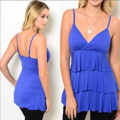 "CLOSING CLOSET TODAY HP! Royal Blue Tiered Top This stunning thin strap royal Blue babydoll top features a v-neckline and tiered detail on bodice. Has lightly padded cups on the bust and adjustable straps to adjust the shoulder length. Made of 95% rayon, 5% spandex. Very soft and comfortable. Have S(2-4) M(6-8) L(10-12) Price is firm unless bundled. Apprx 25"" long. *Previous customer discount does not apply to this item as its already priced very low. ValMarie Boutique Tops Tank Tops"