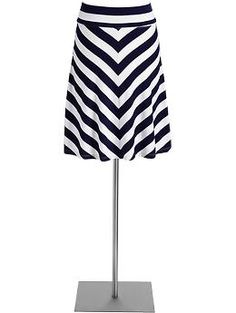 Women's Fold-Over Jersey Skirts | Old Navy- petite length in navy too? It's official- I'm obsessed with CHEVRON.