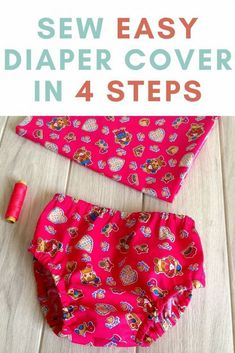 learn how to sew an easy diaper cover in just 4 steps with this sewing pattern. This sewing tutorial comes with templates from newborn to 24 months in size. Baby Sewing Tutorials, Baby Sewing Projects, Sewing Projects For Beginners, Sewing For Kids, Sewing Hacks, Sewing Tips, Sewing Baby Clothes, Baby Clothes Patterns, Baby Patterns
