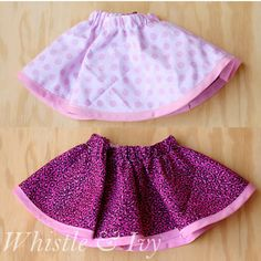 Free Sewing Pattern - Easy Reversible Baby Skirt. This skirt is SO easy to make, and is two skirts in one!  {Tutorial by Whistle and Ivy}