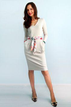 White dress Jersey dress Long sleeves Autumn dress от Florinio