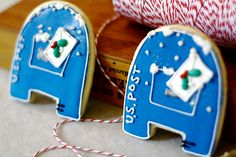 Holiday Post Decorated Sugar Cookies - Christmas - Winter favors. $33.20, via Etsy.