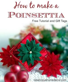 How To Make A Felt Poinsettia with Gift Tags | http://sewlicioushomedecor.com