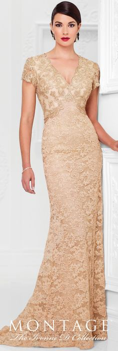Formal Evening Gowns by Mon Cheri - Spring 2017 - Style No. 117D72 - gold lace evening dress with scalloped short sleeves and keyhole back