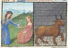 April and Taurus - Book of Hours - France ca. 1500 - The Morgan Library & Museum Medieval Manuscript, Medieval Art, Illuminated Manuscript, Taurus Art, Zodiac Signs Taurus, Morgan Library, Book Of Hours, Day Book, Months In A Year