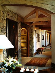 love the hall, the look of mixed wood and stone
