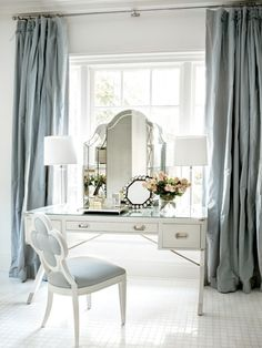 Words cannot describe how much I love this. Beautiful dressing table, in a room of blues and whites