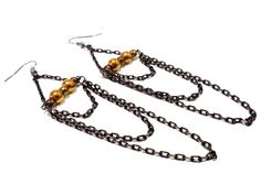 4 Black and Gold Chain Earrings Black and by DCArtandPhotography, $12.95