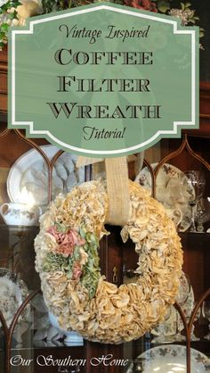 Coffee Filter Wreath Tutorial from Our Southern Home. Could also use your used coffee filters; rinse out the coffee, after brewing, dry, and save to make wreath. No waste Wreath Crafts, Diy Wreath, Paper Crafts, Diy Crafts, Flower Crafts, Small Wreath, Paper Wreaths, Wreath Ideas, Door Wreaths