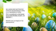 Beste klanten,van maandag 5 april t.e.m. maandag 12 april laden wij onze batterijtjes even op. Vanaf dinsdag 13 april verwelkomen we u dan ook héél graag terug!Wenst u al een afspraak in te plannen? Uiteraard kan dat!AFSPRAAK REPARATIE / ONDERHOUDAFSPRAAK INFO NIEUWE FIETS OF ACCESSOIRESBedankt voor uw begrip, fijne paasdagen / vakantie toegewenst en tot snel! 13 April