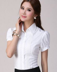 2017 Womens Summer Chiffon Blouses Shirts Plus Size Girls Short-Sleeve Patchwork Elegant Blouses Ladies White Striped Blusas Trousers Women, Pants For Women, Sewing Blouses, Kurti Designs Party Wear, Chiffon Shirt, Chiffon Blouses, Plus Size Blouses, Womens Fashion For Work, Work Attire