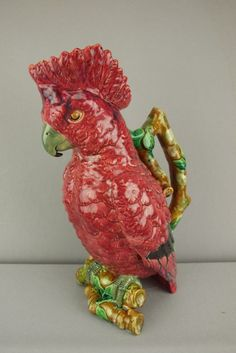 Brownfield rare majolica figural cockatoo on branch pitcher