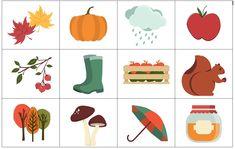 Jesienne Memo Creative Kids, Speech Therapy, Clip Art, Seasons, Education, Games, Fall, Inspiration, Vocabulary