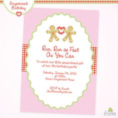 Gingerbread house birthday party invitation cute christmas gingerbread pink birthday party diy printable filmwisefo Images