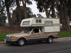 Mercedes Camper, Just In Time For The Coming Financiapocalypse Truck Bed Camper, Vw Camper, Tiny Camper, Mercedes Benz Camper, Mercedes W126, Mercedes 300, Homemade Camper, Classic Campers, Camper Van Conversion Diy