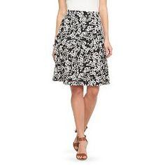 Women's Textured Bullet Knit Full Skirt Black/Cream Floral Print L - Studio  253.