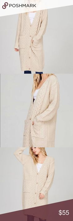 """Cable knit chunky long cardigan Cozy up with this season's trend! Chunky cable knit long cardigan in the shade oatmeal. Features an oversized fit, dual front pockets, button closure. Model is 5'7"""" wearing a S/M. No trades. Price is firm. Sweaters Cardigans"""