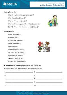 Giving Advice Esl Games Activities Worksheets – Free Worksheets Samples English Speaking Game, English Class, English Lessons, Learn English, English Teaching Materials, Teaching English Grammar, English Grammar Worksheets, Help Teaching, Teaching Resources