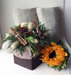 Композиция с корицей - коричневый,Новый Год,Декор,подарок,новогодний сувенир