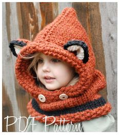 Knitting PATTERNThe Failynn Fox Cowl Toddler  by Thevelvetacorn, $5.50