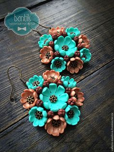Beautiful color combination plus lots of others! Pictures only. Polymer Clay Canes, Polymer Clay Flowers, Fimo Clay, Ceramic Clay, Polymer Clay Earrings, Biscuit, Clay Ornaments, Paper Clay, Handmade Flowers